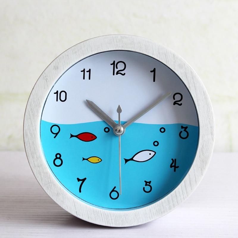 OUYUN Fashion Creative Alarm Clock Mediterranean Sea Retro Rural White Wood Small Desktop Clock Kids For Living Room Bedroom