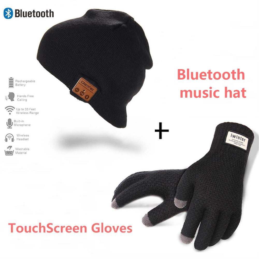 Fashion Beanie Hat Wireless Bluetooth Earphone Smart Headset Speaker Mic Winter Outdoor Sport Stereo Music Hat + Touch Gloves wireless bluetooth music beanie cap stereo headset to answer the call of hat speaker mic knitted cap