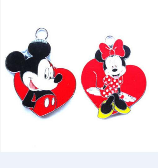 lot tsum Mickey Minnie Charm Necklace Bracelet Earrings Pendants Key DIY