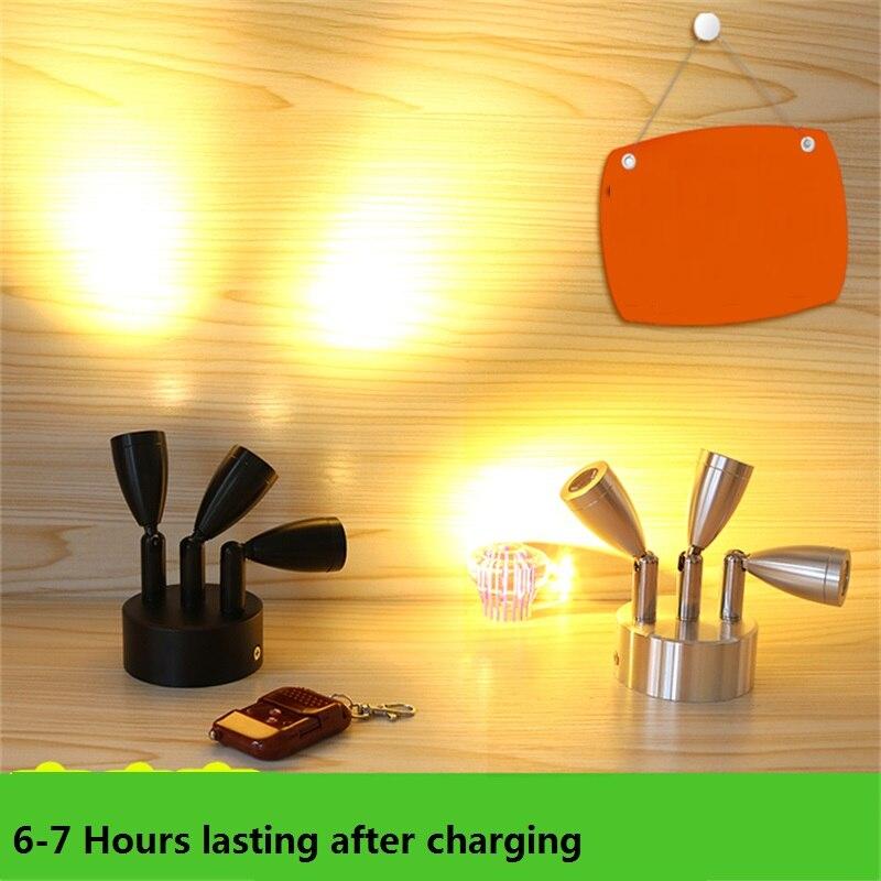 3W 9W recharging triple head remote window lamp remote control show light 3 head jewelry cabinet