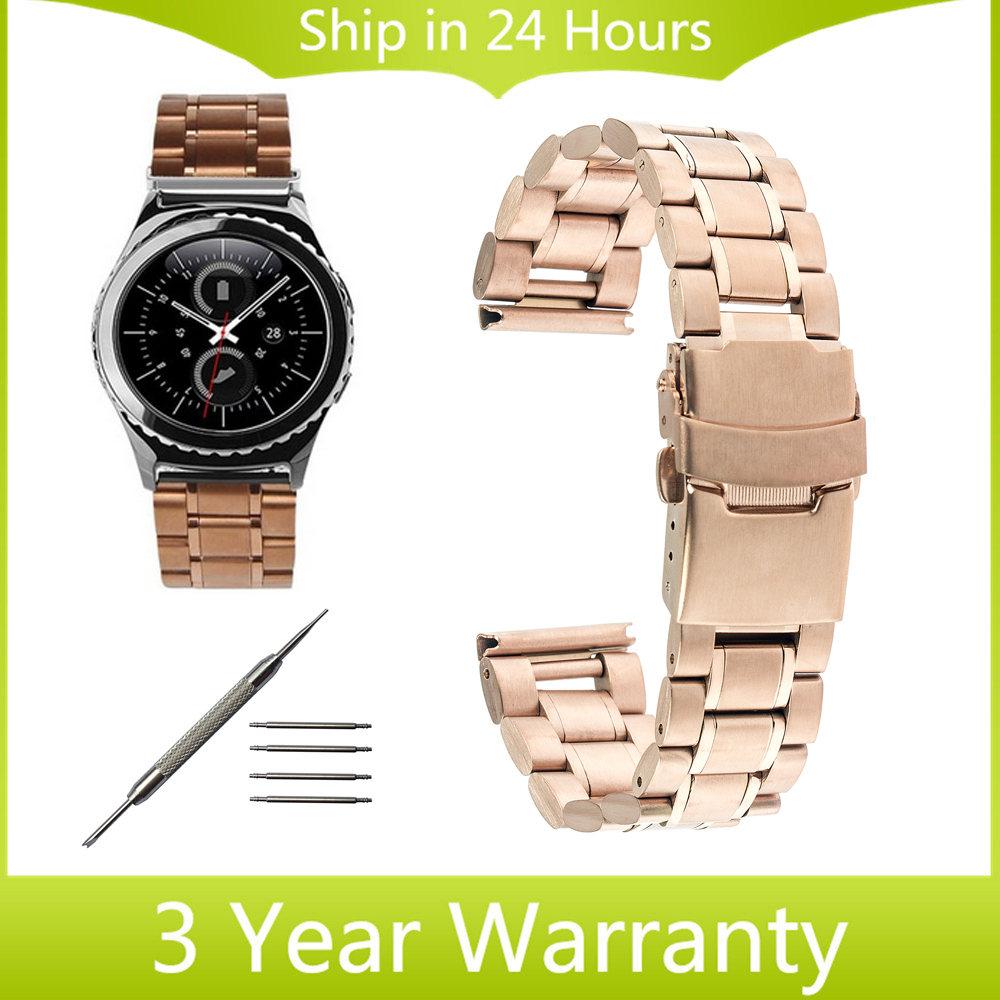 20mm Stainless Steel Watch Band for Samsung Gear S2 Classic R732 & R735 Moto 360 2 42mm Wrist Strap Safety Buckle Belt Bracelet black silver stainless steel buckle wrist watch straps for samsung gear s2 classic watchband with remover tool free