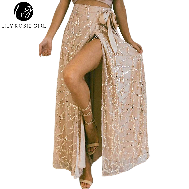 Lily Rosie Girl Women 2017 White Sexy Sequined Straight Empire Maxi Skirts Casual Summer Beach Party Faldas Mujer Long Skirt