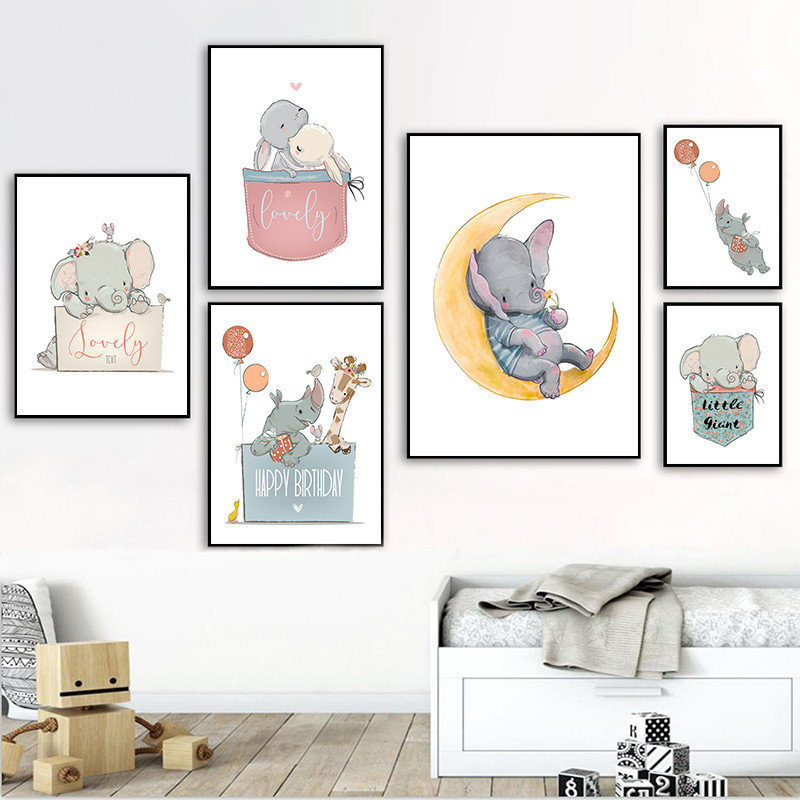 Us 2 06 30 Off Rabbit Nursery Decor Childrens Print Elephant Poster Kids Room Wall Art Picture Pd2635 In Painting Calligraphy From Home Garden
