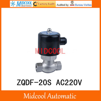 "High temperature steam stainless steel solenoid valve ZQDF-20S AC220V port 3/4"" Direct acting piston"