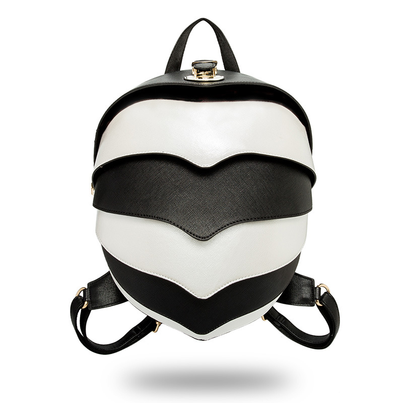 Women's Backpack PU Leather Beetle Backpack Shoulder Diagonal Multifunction Bag White Blackk