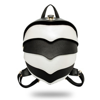 Women's Backpack PU Leather Beetle Backpack Shoulder Diagonal Multifunction Bag White Blackk