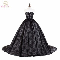 Walk Beside You Black Lace Evening Dresses Ball Gown Chapel Trail Sweetheart Lace Applique Vestido De