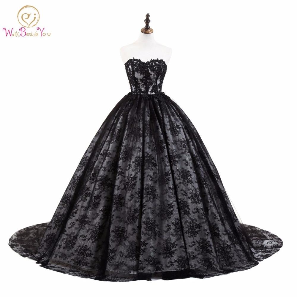 Walk Beside You Black Lace Evening Dresses Ball Gown Sweep Trail Sweetheart Applique vestido de fiesta Stock size 2-16