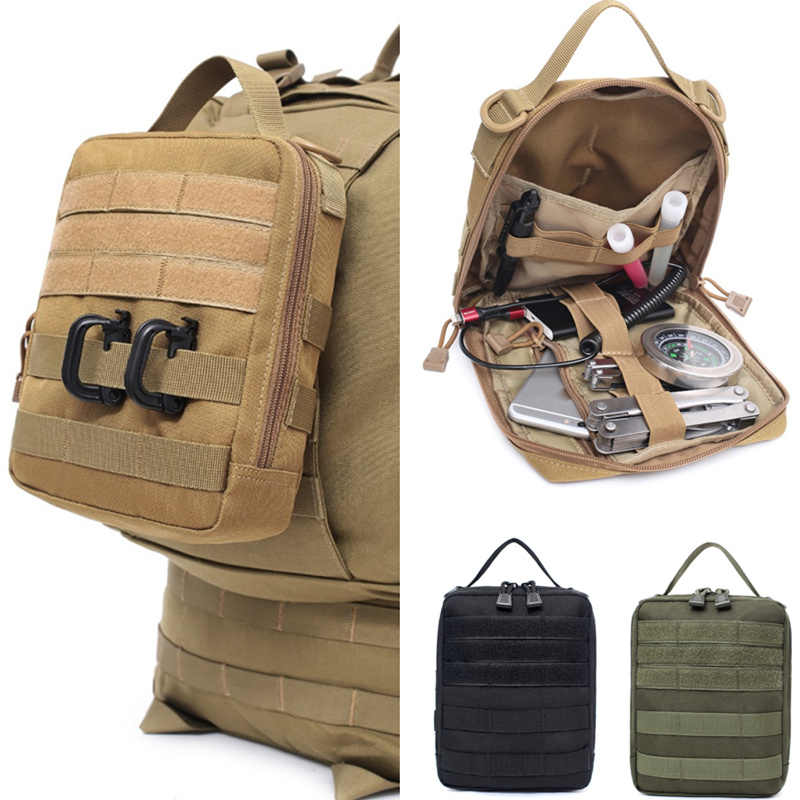 Outdoor Tactical Molle Belt Medical Pouch Utility Military Accessories Pouches EDC Waist Bag Emergency First Aid Hunting Bags