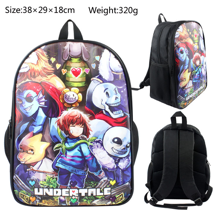 Undertale Sans Cos COOL SKELETON Colorful Printed Backpack Canvas Knapsack School Bag Anime Printed Ruckpack Student Satchel