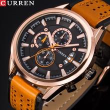 CURREN New Watches Men Sport Chronograph Wristwatch Leather