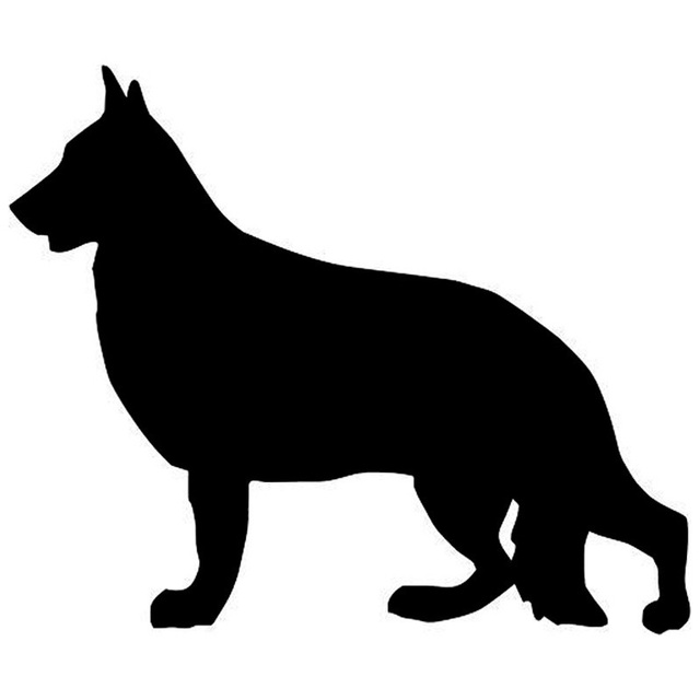 9.5*11.4CM German Shepherd Dog Car Stickers Silhouette Vinyl Decal Car Styling Bumper Decoration Black/Silver S1-0721
