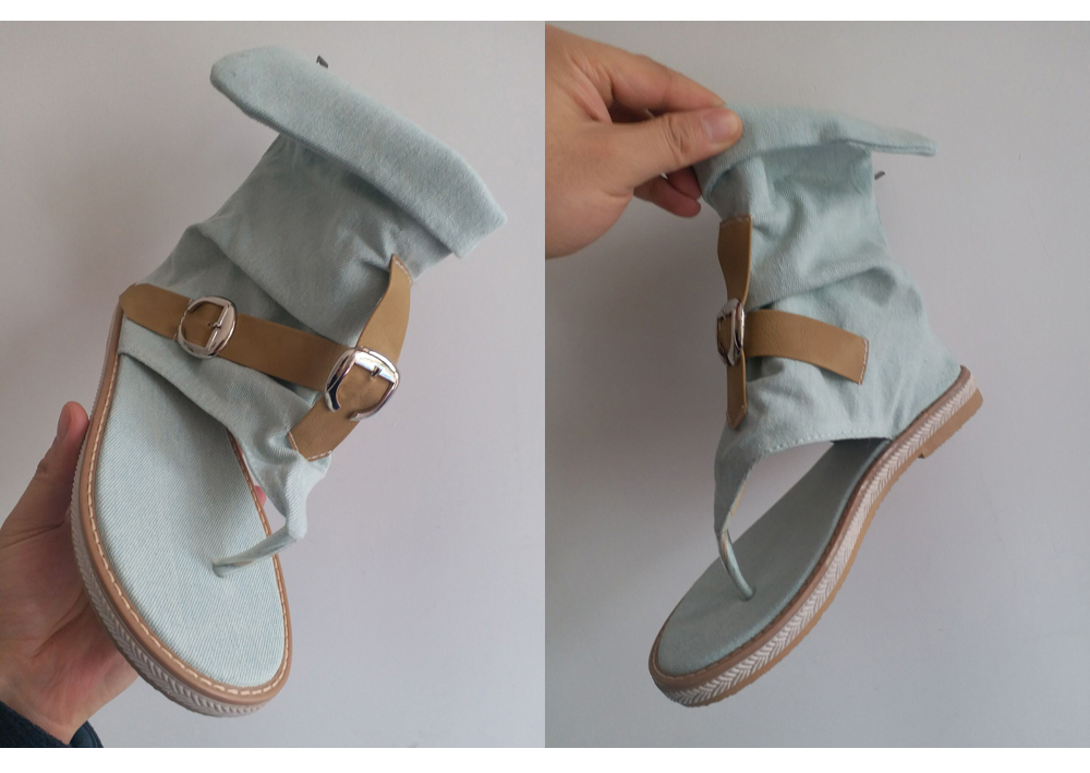 HTB1OQX2LFzqK1RjSZSgq6ApAVXaS CDPUNDARI Ladies Denim Flat sandals for women Platform Sandals summer shoes woman Gladiator Sandals sandalias mujer 2019