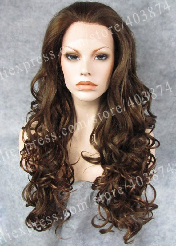 ФОТО Natural Brown Mix Color  Long Wavy Wig Synthetic Lace Front Wigs