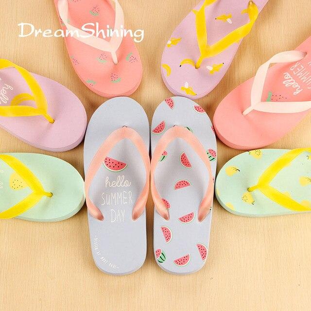 82f9bbcd4d7 DreamShining Female Fashion Sandals Summer Fruit Sandals Party Sandals  Beach Slippers Sandalias Four-Color Mixed Ship