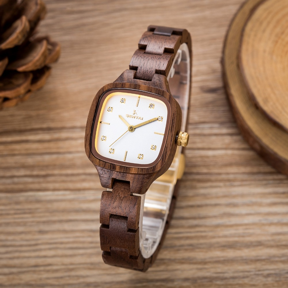 SENTAI Brand Analog Luxury Wood Watch Women Newest Quartz Watches Natural Walnut Wooden WristWatches Orologi Lady Reloj Mujer
