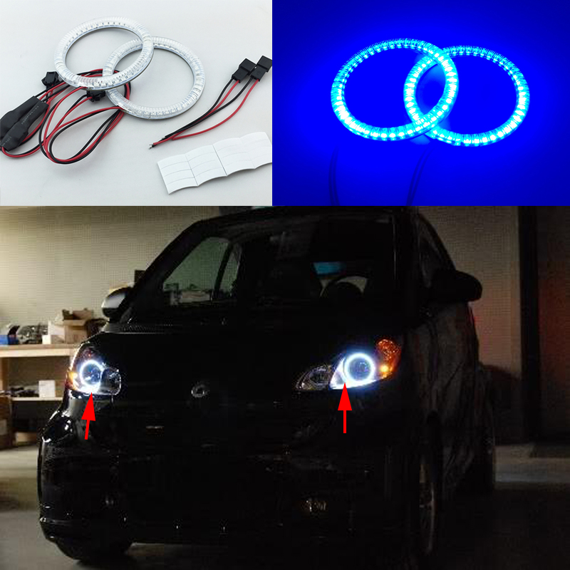 2pcs Super bright red blue yellow white 3528 smd led angel eyes halo rings car styling for smart  ForTwo  2008-2015 polaris rzr 900 rzr 1000 xp set led headlight with halo rings angel eyes white red yellow green blue