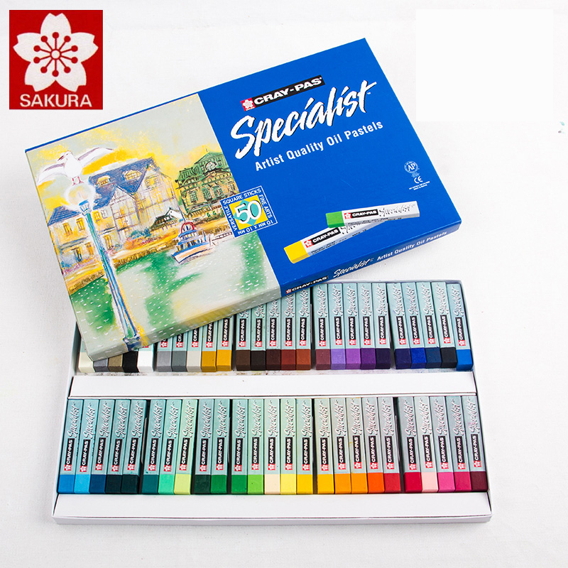 Sakura Oil Pastel ESP 12/25/36/50 Colors Pastel Stick Soft Oil Pastel Oil Crayons Pastels Blue Box Packaging Art Supplies sakura sakura xep 50 50 color oil painting bags set art soft crayons