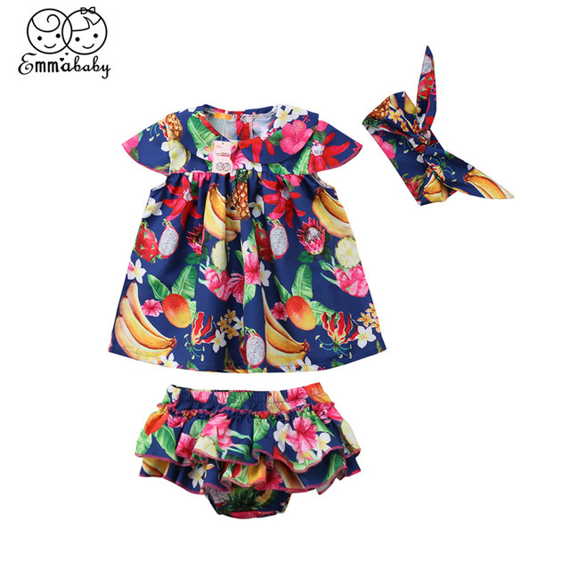 Summer Baby Girl Clothes Set 2018 New Cute Newborn Baby Girl Printed