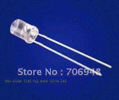 Прозрачный белый светодиодный Диод 200 мкд с плоским верхом, 5 мм, мкд
