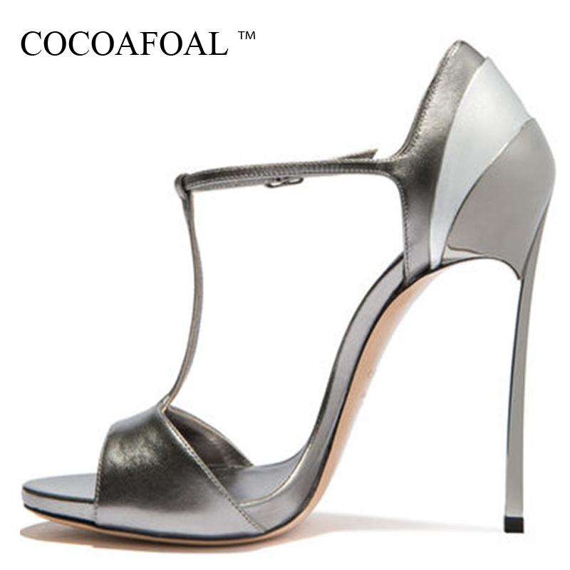 COCOAFOAL Women Open Toe Silvery Heels Sandals Plus Size 33 43 Gladiator Bridal Shoes Party Sexy Heel Height Wedding Sandals meotina women sandals open toe mid heels rhinestone sandals shoes women party bridal wedding shoes luxury sandals god size 34 43