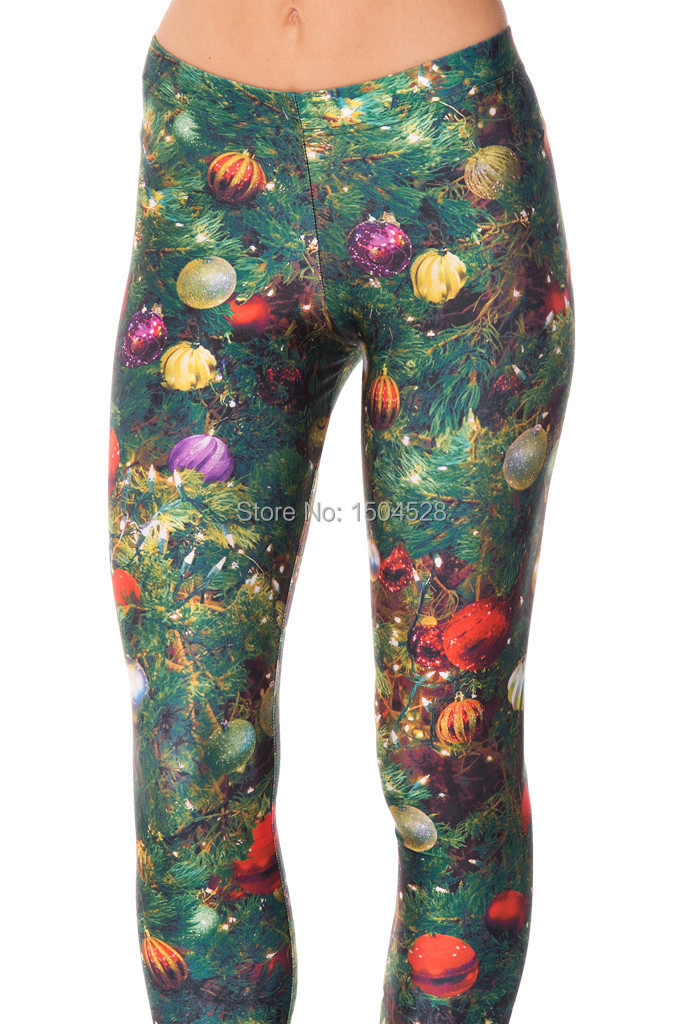 2016 new arrival womens clothes galaxy 3d print digital printing wholesale christmas tree leggings sexy skinny pants one size in leggings from womens