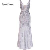 Spendflower Women's Sleeveless V neck Halter Sequins Full Length Evening Gown White G 051WE