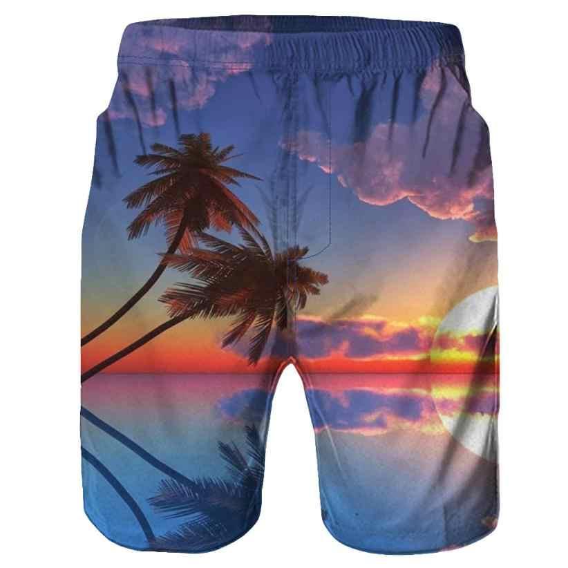 بنطلون قصير رجالي للشاطئ مطبوع عليه أشجار ثلاثية الأبعاد للصيف من Fishsunday موديل 0712