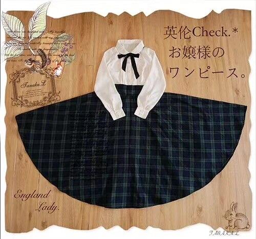 England Preppy Style Plaid Dress Mori Girl Peter Pan Collar Large Size Dresses Women Vintage Elegant