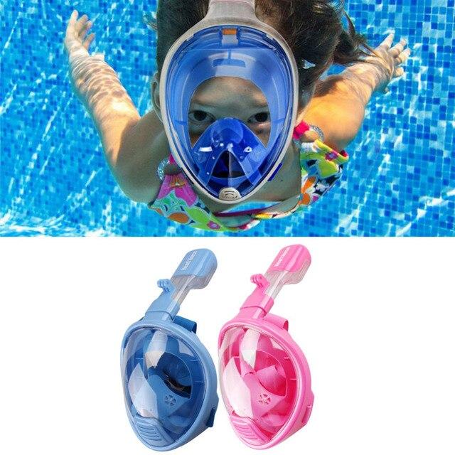 84ade9176 Safe Kids Rosto Cheio Máscara de Mergulho Scuba Desportos Aquáticos Mergulho  Submarino Snorkel óculos de Natação