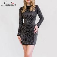 Kinikiss Sexy Club Bodycon Mini Dress Deep V Neck Women Dress Short Hollow Out Elegant White