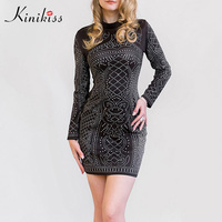 Kinikiss Sexy Club Bodycon Mini Dress Deep V Neck Women Dress Short Hollow Out Elegant White
