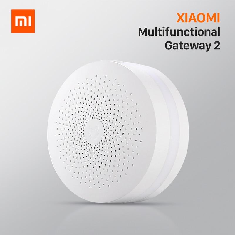 Versão de atualização original xiaomi mijia casa inteligente multifuncional gateway 2 sistema alarme rádio em linha inteligente luz da noite sino
