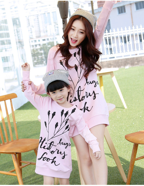 Fashion Patchwork flower printed family set long style t shirt mom/girl dress cotton family clothes mother and daughter dress
