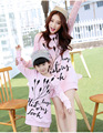 Remiendo de la manera impresa flor conjunto familiar estilo camiseta larga de mamá/vestido de niña de algodón ropa de la familia de la madre y la hija vestido