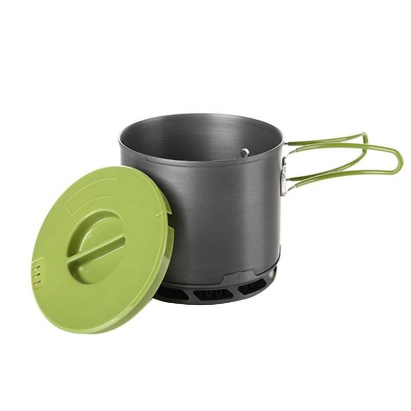Al aire libre 1200 ml recogida de calor olla portátil Camping Picnic Cookware Pot Bowl Pan mango plegable bolsa de malla