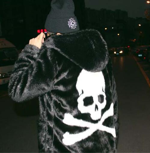 Hiver épaissir thermique à capuche en cuir veste hommes décontractée hommes lapin cheveux manteaux faux démon crâne vêtements pour hommes pardessus noir