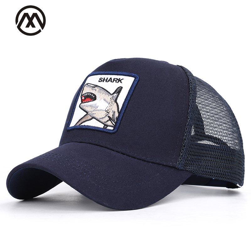 Shark Embroidered   Baseball     Caps   Men's Women's Universal Adjustable High Quality Outdoor Shade Animal Dad Truck Driver Mesh hats