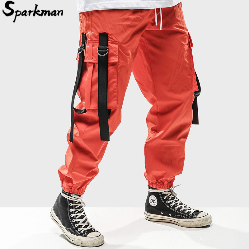 2019 Harajuku Pant Joggers Men Hip Hip Cargo Pants Pockets Swag Ribbon SweatPant Streetwear Spring Summer Track Trousers Hipster-in Cargo Pants from Men's Clothing    1