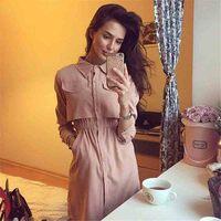 2016 Autum Winter Women S Dress Pink Black Turn Down Collar Pocket Long Sleeve Elegant Lapel