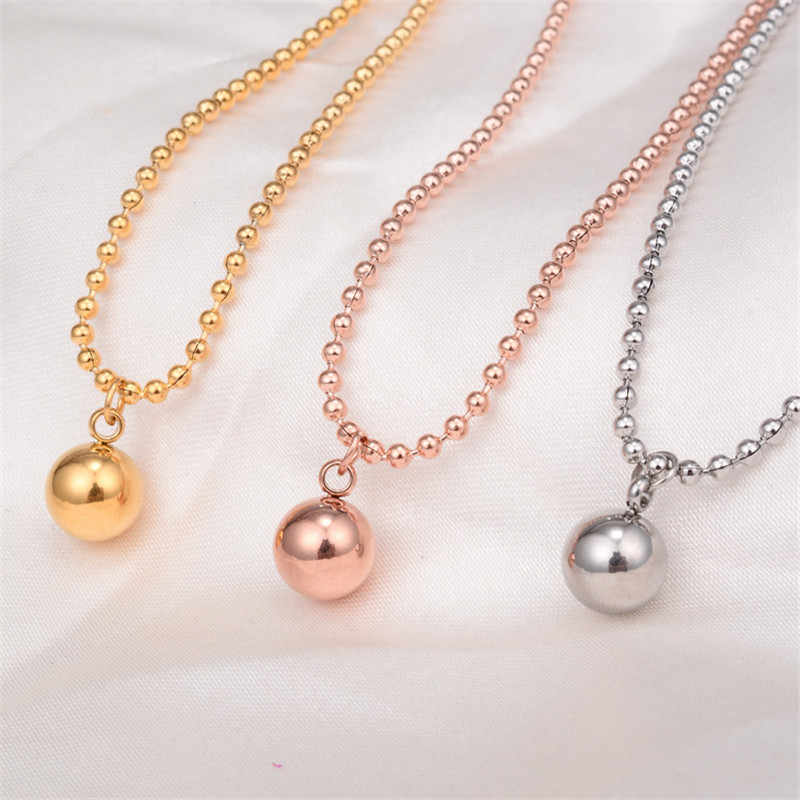 Martick Smooth Steel Ball Pendant Necklace Titanium Steel Rose Gold Color Woman Fine Jewelry Birthday Gift Free Shipping P85