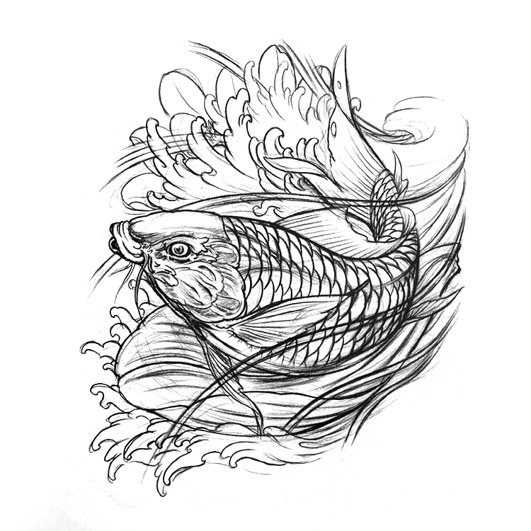 2015 Newest Tattoo Book Hetattoo Sketch Book Beautiful Koi Carp