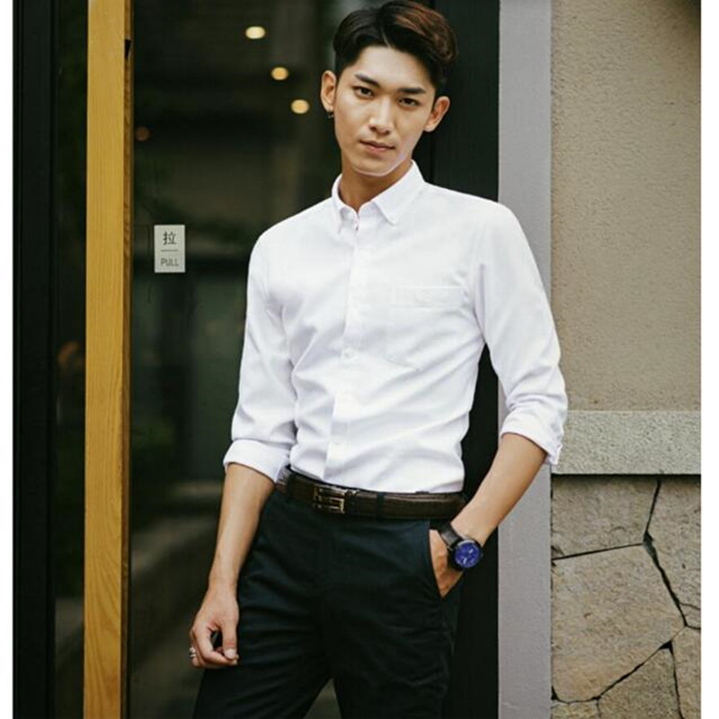 Fashion Men Casual Shirts Long Sleeve Men Dress Shirt Slim Fit Famous Formal Business For Office Work Male shirt