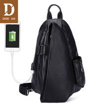 DIDE USB charging Shoulder Bags for Men Waterproof Leather Crossbody Male Messenger Bag chest pack Khaki Black Vintage