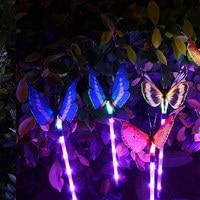 3pcs Garden Solar Lights Outdoor Multi color Changing LED Fiber Optic Butterfly Decorative Light DAG ship