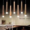 Художественная люстра простая ресторанная светодиодная одноголовая Скандинавская твердая деревянная прямоугольная креативная люстра бе...