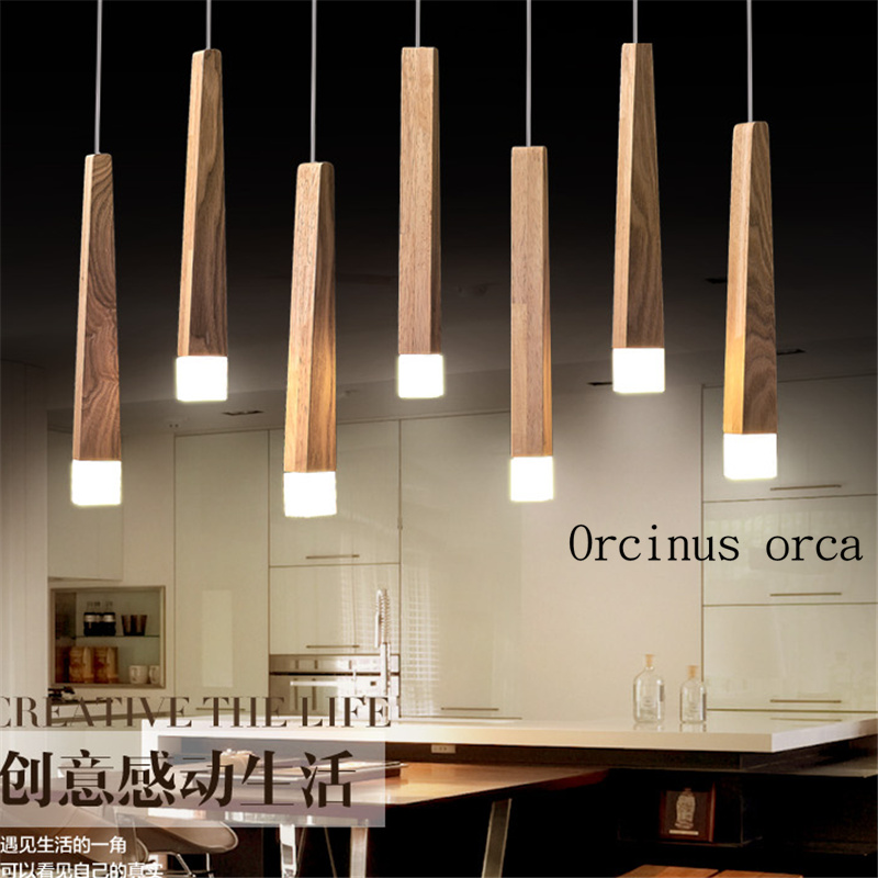 Art Chandelier Simple Restaurant LED Single Head Nordic Solid Wood Rectangular Creative Chandelier Postage Free