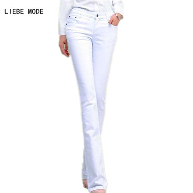 6dab418829 2017 Spring Woman Black White Jeans Straight Cut Boot Flare Jeans For Women  Push Up Skinny