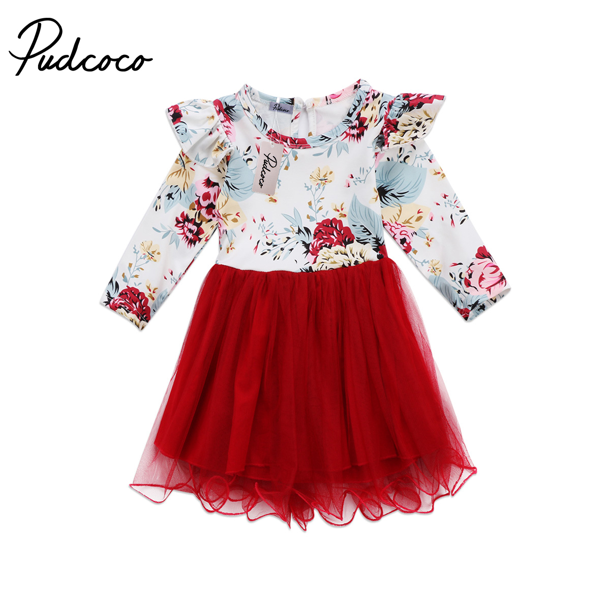 Xmas Ruffles Kid Baby Girl Floral Long Sleeve Tulle Tutu Dress Outfits Kids Flower Patchwork Red Dresses Girls Clothing baby girl 1st birthday outfits short sleeve infant clothing sets lace romper dress headband shoe toddler tutu set baby s clothes