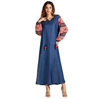 Muslim Plus Size Women's V Neck Puffer Long Sleeve A Line Relaxed Maxi Dresses Splicing Slit Casual Denim Dress